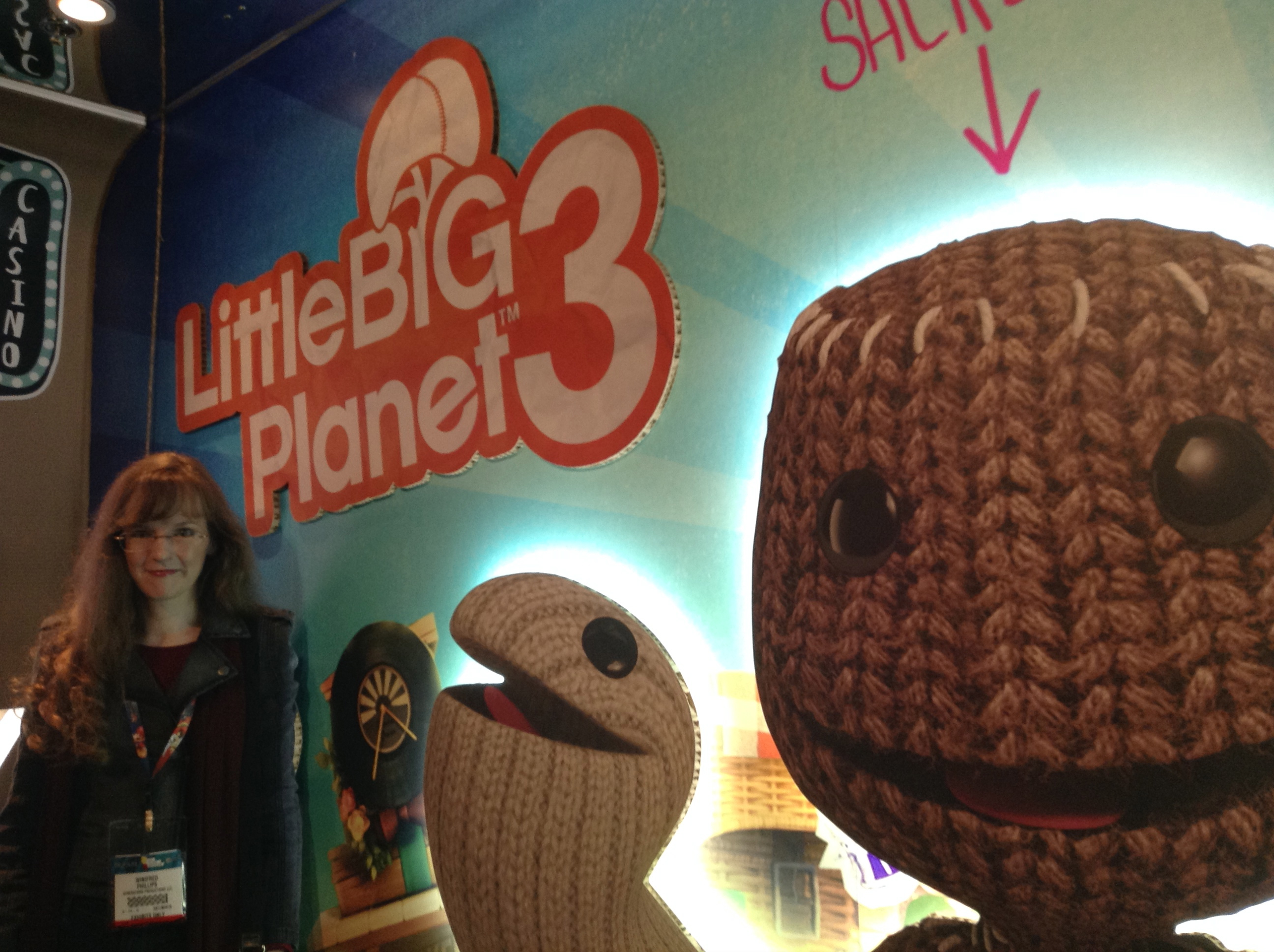 Photo of composer Winifred Phillips taken in the LittleBigPlanet 3 booth at the Electronic Entertainment Expo 2014.