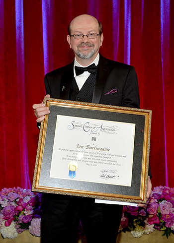 Illustrious author and journalist Jon Burlingame, receiving a BMI Special Citation of Appreciation award in May 2014