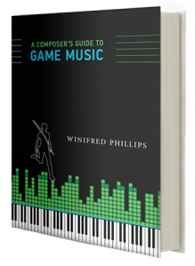 An image depicting the cover of the bestselling book A Composer's Guide to Game Music, written by award-winning game composer Winifred Phillips.