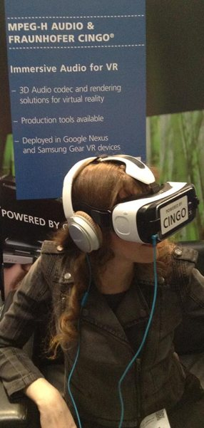 In this article about headphone tech for the popular VR platforms (by a video game composer for video game composers) Winifred Phillips is pictured demoing the Cingo engine as implemented in the famous Samsung Gear VR.