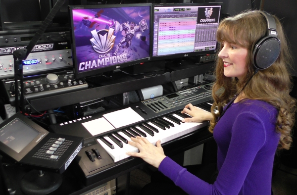 Winifred Phillips, composer of the music for the Call of Champions game, pictured here in her music studio