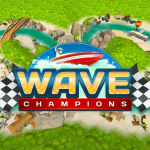 Wave Champions logo (article explores portable game audio and music, author: Winifred Phillips, video game composer)