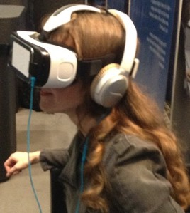 Here, you see me trying out the Samsung Gear VR, as it was demonstrated on the show floor at the Audio Engineering Society Convention in 2015.