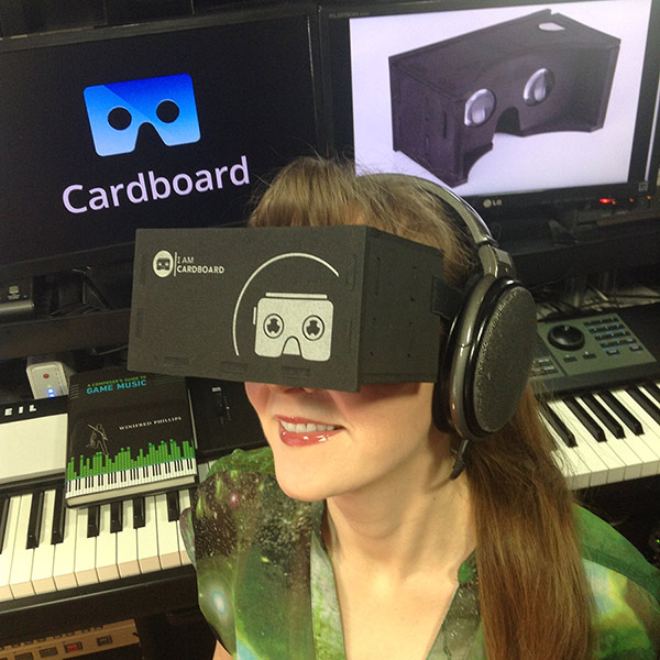 Winifred Phillips demonstrates the EVA 2.0 Google Cardboard Virtual Reality headset