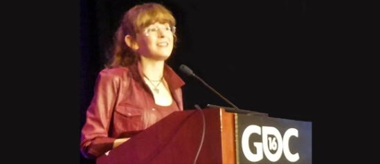 Winifred Phillips, video game composer, giving a talk as part of the Game Developers Conference 2016 in San Francisco.