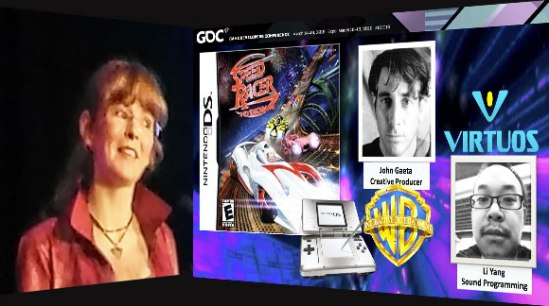 GDC speaker Winifred Phillips (video game composer), speaking about the Speed Racer videogame at GDC 2016.
