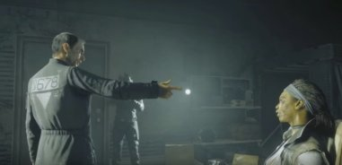 An enemy official taunts his captives in this screen from the Homefront: The Revolution video game (pictured in the article by video game composer Winifred Phillips)