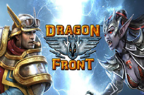 In the article by game composer Winifred Phillips, a depiction of the Dragon Front VR game logo.