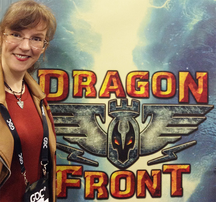Winifred Phillips, video game music composer, pictured at the GDC 2016 display for the Dragon Front virtual reality game.