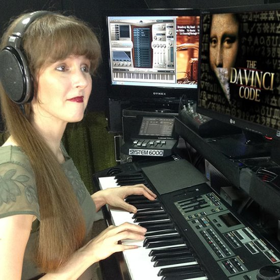 Winifred Phillips - video game music composer - working on the music of The Da Vinci Code video game in her music production studio.