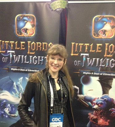 Pictured: video game music composer Winifred Phillips at the BKOM booth during GDC 2017.