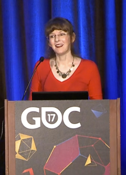 Video game composer Winifred Phillips, presenting at the Game Developers Conference 2017.