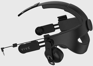Photo of the Deluxe Audio Strap for the famous Vive VR headset, from the article by video game music composer Winifred Phillips.