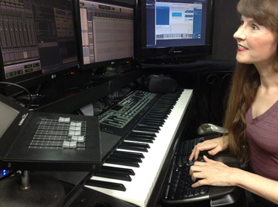 Video game composer Winifred Phillips, pictured in her music production studio.