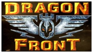 A depiction of the official logo of the Dragon Front VR game -- in an article written for video game composers, Winifred Phillips (video game composer) explores the role of music in projects for VR projects.