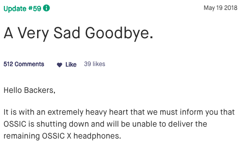 Capture from the popular Kickstarter page for the OSSIC X headphones, in the article written by Winifred Phillips for video game composers.