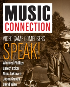 "An image of the September 2018 cover of Music Connection Magazine featuring the article ""Video Game Composers Speak!"" - features interviews of famous game music composers, including popular game music composer Winifred Phillips."