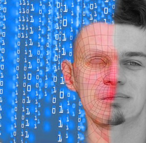 Illustration depicting the crossover between reality and virtual avatars in a digital reality, from the article by Winifred Phillips for video game composers.