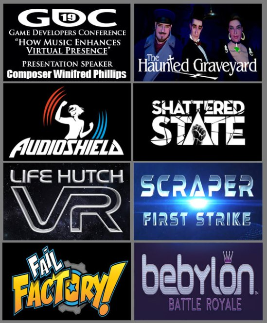 Compilation of images depicting popular game titles for VR platforms that are included in the GDC 2019 lecture of game composer Winifred Phillips.