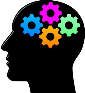 An illustration depicting intelligence in its popular 'mental gears' metaphor, used in the article for video game composers by Winifred Phillips (game music composer).