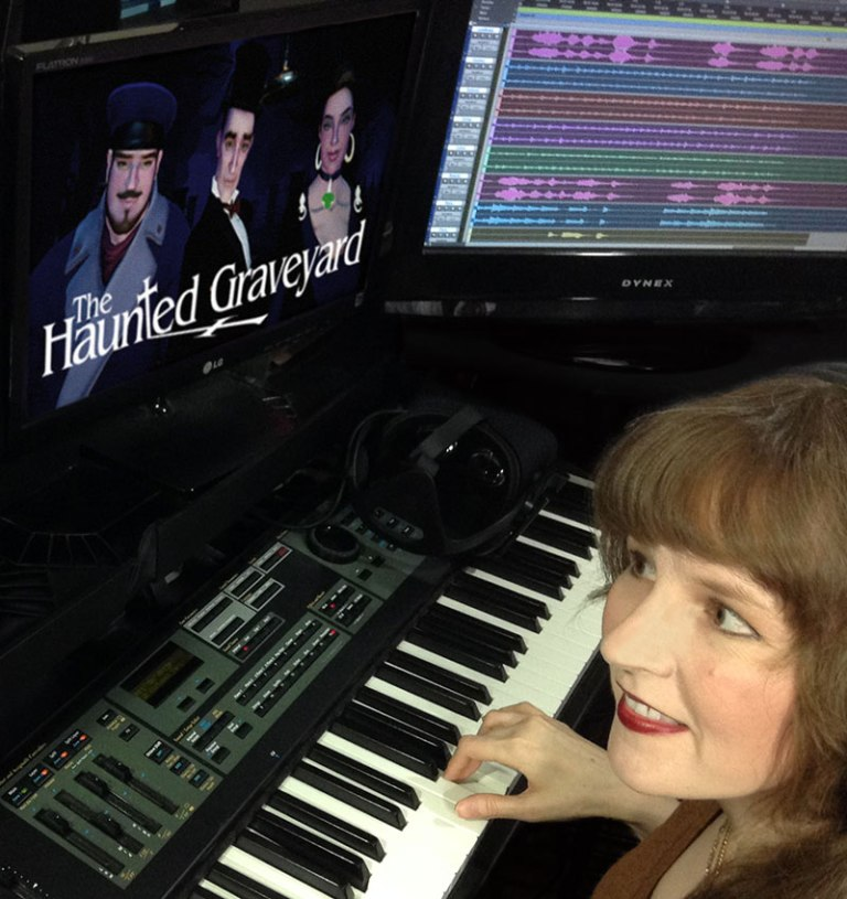 "Video game music composer Winifred Phillips in her video game music production studio working on the music of ""The Haunted Graveyard"" VR game."