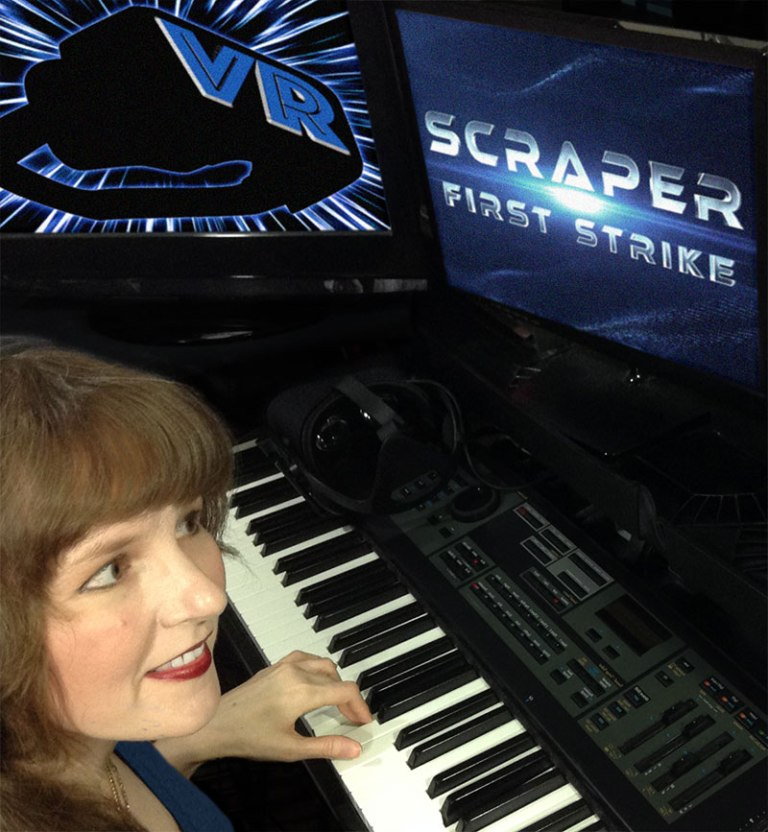 Working on the music of the Scraper: First Strike VR game, Winifred Phillips is here shown in her professional music production studio.