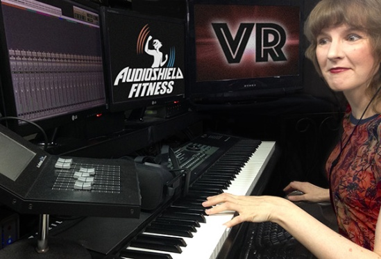 Video game music composer Winifred Phillips hard at work on the Audioshield Fitness VR project in her video game music production studio.