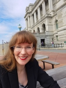 The world famous exterior of the Library of Congress (Thomas Jefferson Building), where video game composer Winifred Phillips (pictured) gave the first lecture on video game music composition ever presented at the Library of Congress.
