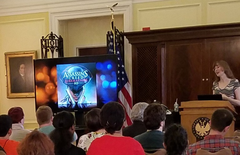 Popular video game composer Winifred Phillips discussing her music from Assassin's Creed Liberation during her lecture at the Library of Congress (Thomas Jefferson Building, Washington DC). This was the first video game music composition lecture given at the Library of Congress.