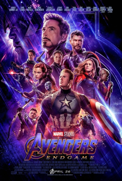 The famous faces of Avengers Endgame depicted in the official poster (an illustration from the article by video game composer Winifred Phillips)