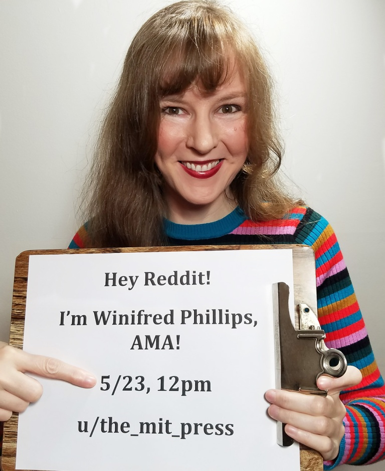 Photo of popular video game composer Winifred Phillips, taken as 'proof photo' for her recent viral Reddit Ask-Me-Anything that hit the Reddit front page, receiving 14.8 thousand upvotes and garnering Reddit's gold and platinum awards.