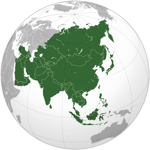 An image isolating the continent of Asia, as used to illustrate the listing of Asian game audio communities (in the article by popular video game composer Winifred Phillips)
