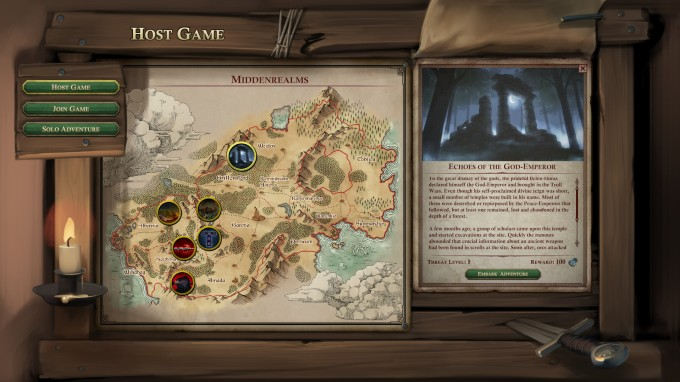 From the video game The Dark Eye: Book of Heroes, a depiction of one of the in-game menus. The game was published by EuroVideo Medien Gmbh, and developers Random Potion. The music for The Dark Eye: Book of Heroes was composed by award-winning game composer Winifred Phillips.