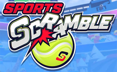 The Sports Scramble logo image for the VR game, as discussed in the article by Winifred Phillips (composer of video game music).