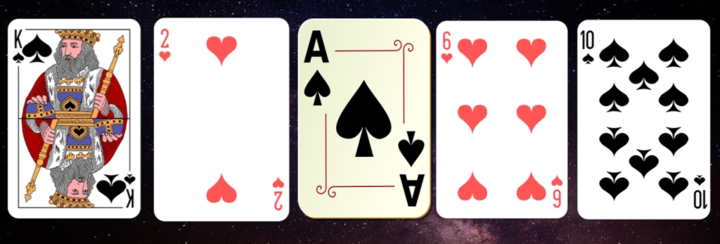 An image representing five playing cards from a standard deck, as utilized in game composer Winifred Phillips' article explaining horizontal resequencing techniques in video game music.
