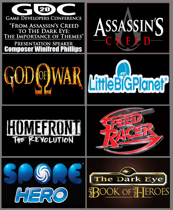 "An image depicting the official logos of the game projects included in the GDC 2020 presentation, ""From Assassin's Creed to The Dark Eye: The Importance of Themes."" This presentation was delivered by video game composer Winifred Phillips during the GDC 2020 online conference in March."
