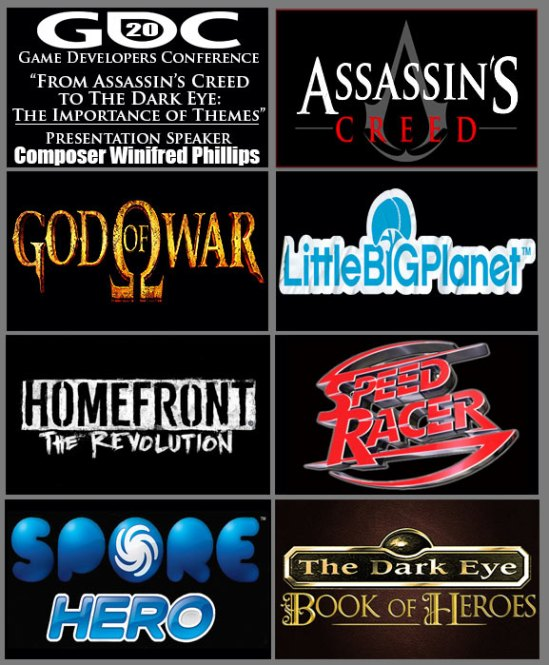 An image montage that includes the logos of video games discussed during the GDC 2020 presentation,