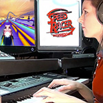 Game music composer Winifred Phillips, shown here working in her music production studio.