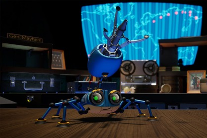 Screenshot of the character 'Agent 8' from the Spyder video game, as included in the article by video game music composer Winifred Phillips.