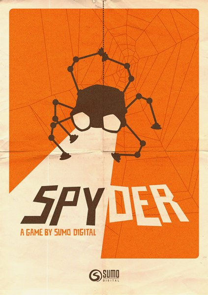 The poster art for the Spyder video game, developed by Sumo Digital, with music composed by award-winning video game composer Winifred Phillips.