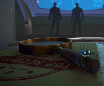 A screen capture of the main character of the Spyder video game examining some secret plans - from a section of the article by Winifred Phillips (video game music composer).