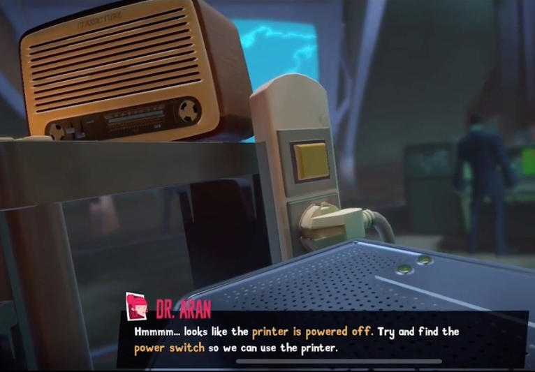 Video game capture screenshot of the in-game radio found in the War Room level of the Spyder video game, from the article by game music composer Winifred Phillips.