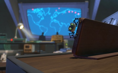 An image depicting video game character Agent 8 navigating the War Room in the Apple Arcade game Spyder, as discussed in the article written by Winifred Phillips (video game composer).