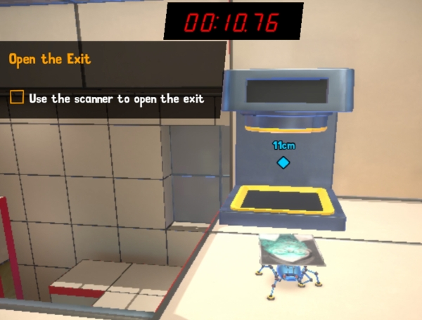A screenshot showing gameplay as the clock runs out during the timed Micro Mission challenge in the Spyder video game, as developed by Sumo Digital.  The music of the Spyder game was composed by award-winning video game music composer Winifred Phillips.