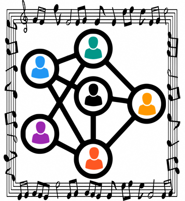 An illustration depicting the role of networking in the career of a game music composer, as included in the article written by award-winning video game composer Winifred Phillips.